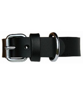 Halsband Plain black/silver 35cm x20mm