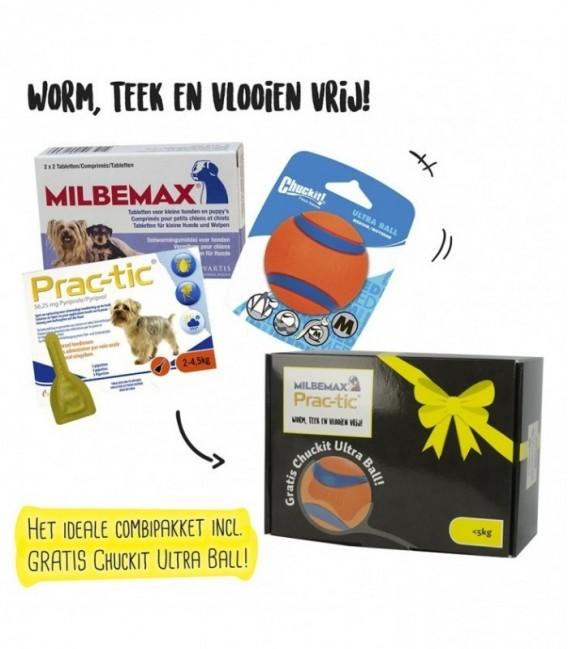 Pakket Hond Milbemax 4tab/Prac-tic 3pip/Ultra Ball M tot 5 kg