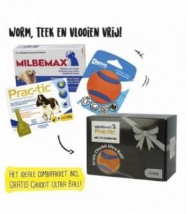 Pakket Hond Milbemax 4tab/Prac-tic 3pip/Ultra Ball M12-22 kg